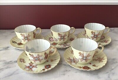 Rare Antique Chinese Export Thin Porcelain Hand Painted Tea Cups & Saucers