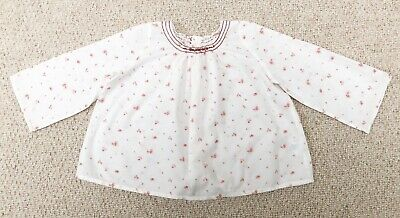 Bonpoint Blouse, White With Pink Flowers, Size 12M, Perfect Condition