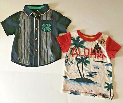 OshKosh 12M Boys Hawaiian Shirt and T-Shirt and Button Front Aloha Beach Photo