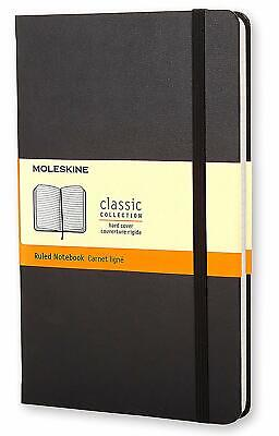 "Moleskine Black Large Hard Cover Ruled Notebook, 5"" x 8 1/4"", 240 Lined Pages"