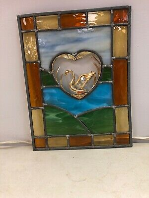 Leaded Stained Glass Panel 10.5x13.5 With Dove Hand Crafted