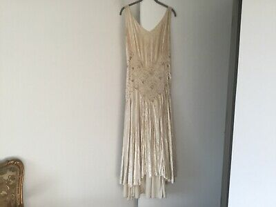 Antique art deco 1920s ivory silk velvet hand-beaded  dress, M
