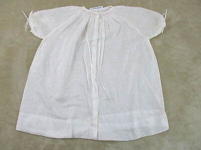 Vtg Neiman Marcus BABY Newborn to 6 mo Hand Smocked Batiste Button-Front Daygown