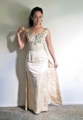 Vintage 1960's Ivory Bead Embellished Wedding Dress Cocktail Gown form fitting