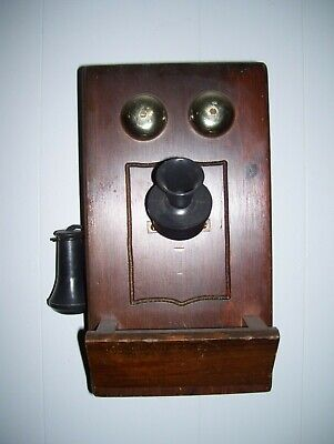Antique Oak Wood Wall Crank Electric Vintage Wooden Phone nice western decor