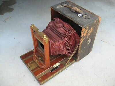 Rare antique 1903 5x7 Century Grand Sr Double Extension wood brass plate camera