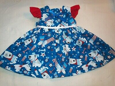 "Fits American Girl 18"" Doll Clothes - Patriotic Dogs Ruffled Sleeve Dress"