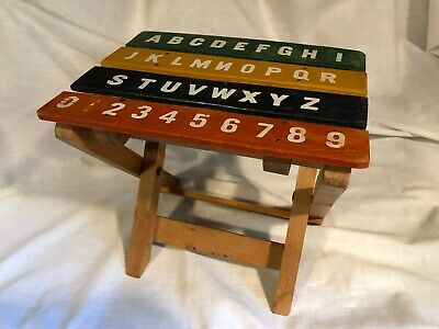 Vintage Primitive Wood Childs Kids Folding Stool Chair Furniture Letters Numbers