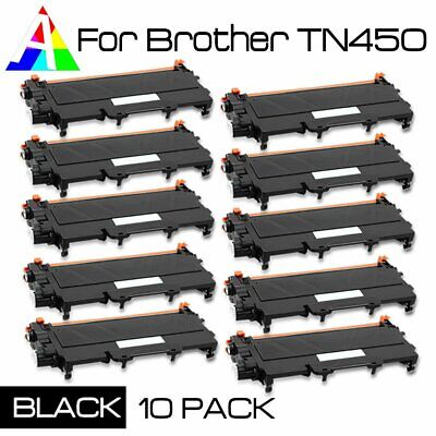 10-PK TN450 Toner BLACK NEW For Brother MFC-7240/7360/7360N/7460DN/7860/7860DW,