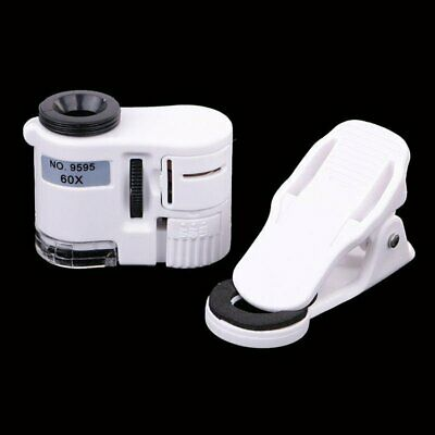 Jewelry Magnifier 60X Clip-on Loupe LED Light Microscope For iphone X Samsung EU