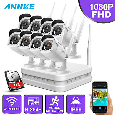 ANNKE 8CH Wireless H.265 NVR 1080P FHD 8 2M Security IP Camera System 1TB Motion