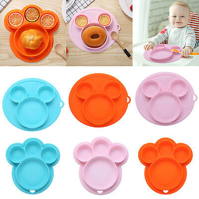 Silicone Child Kids' Dinner Plate Dish Cute Catoon Shape Suction Divided Plate