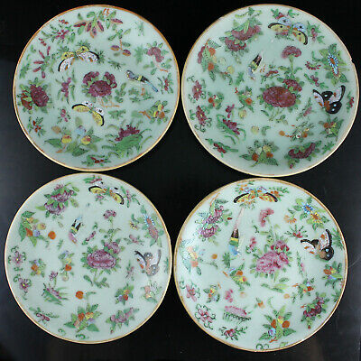 Set of 8 Chinese 19TH C. Celadon Ground Famille Rose Porcelain Plates Dishes