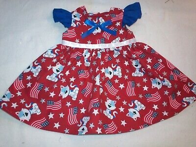 "Fits American Girl 18"" Doll Clothes - Patriotic Cats Ruffled Sleeve Dress"