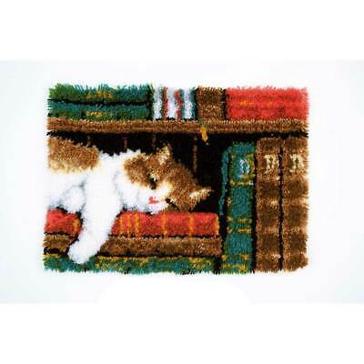 Vervaco Latch hook rug kit Cat on bookshelf, DIY