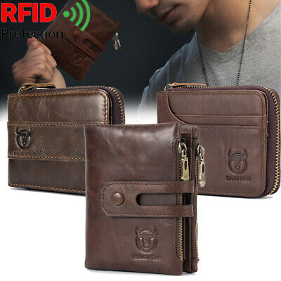 BULLCAPTAIN Men's Genuine Leather Short Wallet RFID Blocking Card Holder Purse