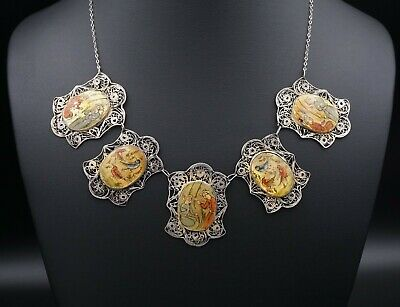 """Vintage Persian Sterling Silver MOP Hand Painted Panel Link Necklace 17"""" NS1489"""