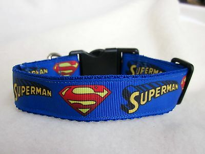 "Dog Collar Superman Superhero Webbing Buckle Blue 1"" Webbing Handmade"