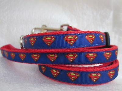 Dog Collar & Or Lead Superman Superhero Blue Red Webbing Buckle Curved