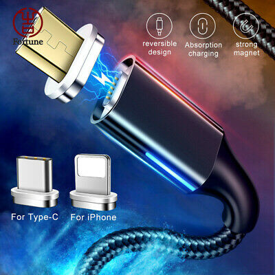 Magnetic Fast High Tensile Micro USB TypeC For iOS Charging Data Sync Cable Cord