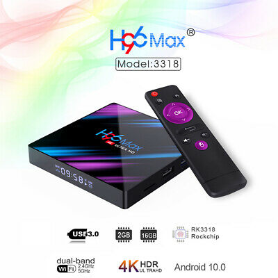 H96 Max RK3318 Android 9.0 TV Box Quad Core UHD 4K 2GB+16GB 2.4G/ 5G WiFi Media