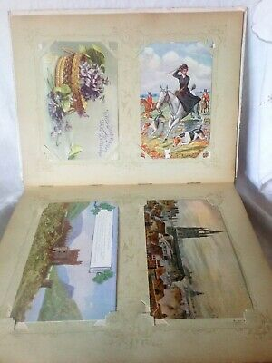 120 Mixed Vintage Postcards In Old Art Nouveau Album (Hard Covers)