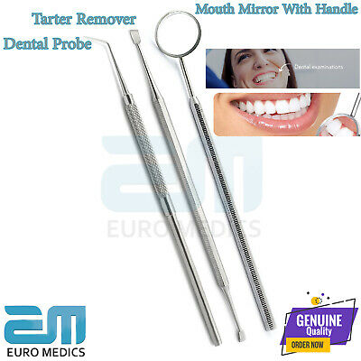 Dental Perio Probe 6 Single End Mouth Mirror With Handle Tooth Oral Care Tool CE