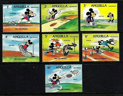 Anguilla -Set of 7 Disney Stamps 1984 from Anguilla Los Angeles Olympics  MNH