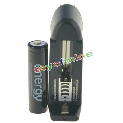 1x 18650 3.7V 10000mAh Energy Blk Li-ion Rechargeable Battery + Smart US Charger