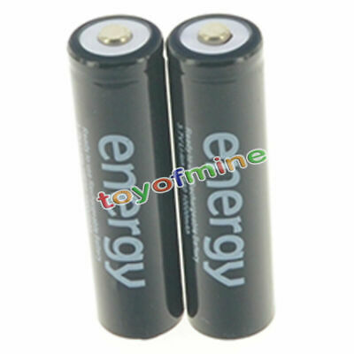 2pcs 18650 3.7V 10000mAh Energy Li-ion Rechargeable Battery Black Cell USA