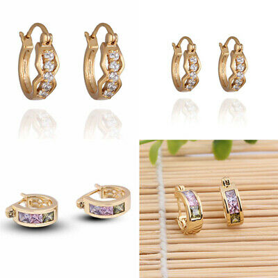 18K Gold plated Simulated Diamond Small Hinged Hoop Earrings for Women Girls
