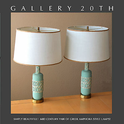 Lovely! Pair Mid Century Modern Atomic Space Age Table Lamps! Blue Vtg 50S Retro