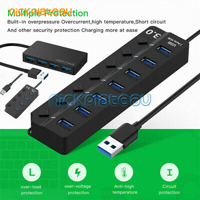7 Port USB 3.0 HUB Powered +High Speed Splitter Extender PC AC Adapter Cable