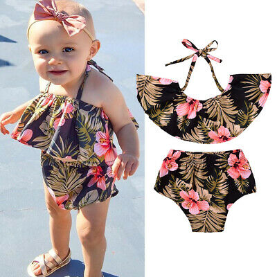 Toddler Kids Baby Girls Summer Clothes Ruffle Flower Crop Tops+Short Pants Brief