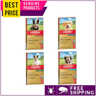 ADVANTIX 3 Doses for Dogs Flea and Tick Prevention All Sizes