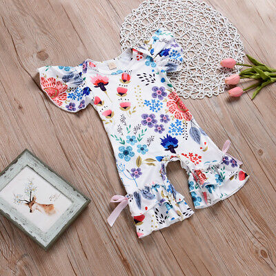 Newborn Baby Girl Flower Romper Bodysuit Jumpsuit Outfit Kids Infant Clothes UK