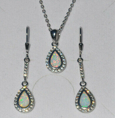 925 Sterling Silber Set Ohrringe Anhänger Zirkonia synth Opal weiß crystal 205