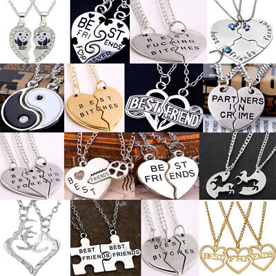 2/3PC Best Friends Bitches Forever Necklace Heart Pendant BFF Birthday Jewelry