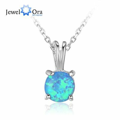Blue Round Simulated Opal Necklace Women Solid Silver Banquet Necklace