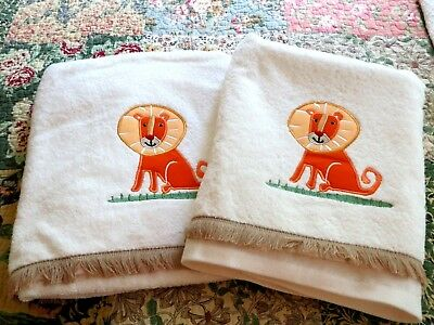 Two Embroidered LION Applique Bath Towels with Fringe (Mane :)