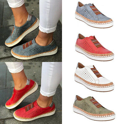 Womens Slip On Elastic Sneaker Trainers Flats Breathable Loafer Pumps Shoes Size