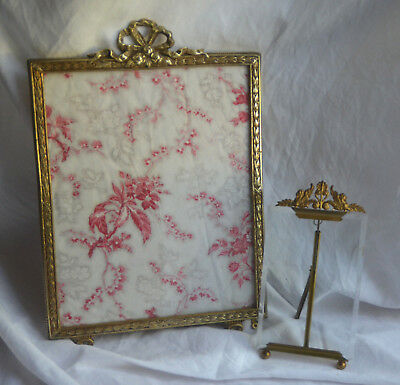 """Antique French solid bronze picture frame, Louis XVI, 14½"""" high, ribbon crest"""