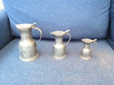 "Set Of 3 Vintage Italian Pewter ""Peltrato"" Lidded Measuring Jugs"