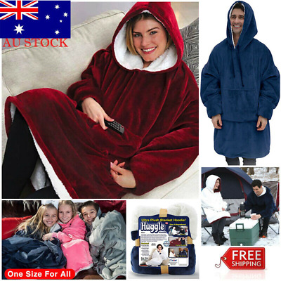 Huggle Hoodie Ultra Plush Blanket Hoodie Winter Indoor Warm One Size Fit for All