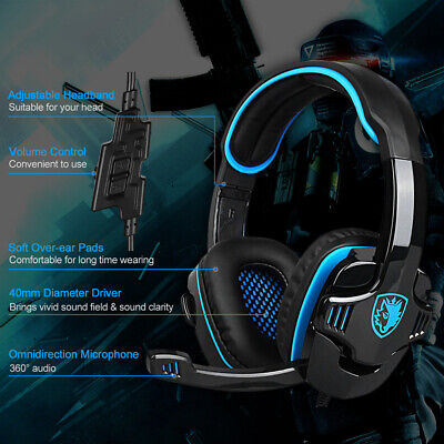 Gaming Headset Surround Stereo Bass Headband Headphone 3.5mm w/ Mic for PS4 T7W0