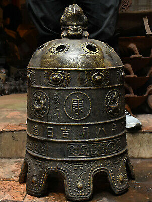 Antique Rare China Bronze Beast Dragon Loong Ancient Works Bell Clang Gong Clock
