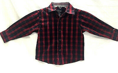 Nautica 8160 Blue Red Plaid Button Down  Shirt Boys 3T