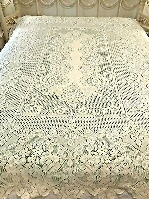 "Ornate Lace Floral Table Cloth Cream Color 58""x80"" Cottage Chic Polyester ML18"