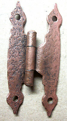 """1 Antique Butterfly Hinge Copper Plated Hammered Colonial Spade Ends 3/8"""" Offset"""