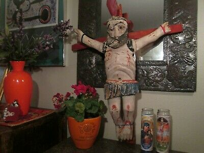 Antique 18th Century, OOAK Hand-Carved Wooden Crucifix From Oaxcaca, Mexico,